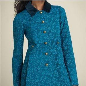 Free People Gypsy Jacquard floral jacket teal sz 2